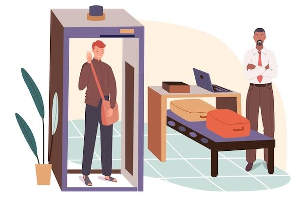 Concetto di web dell'aeroporto. passeggero al controllo di sicurezza, passa attraverso il cancello del metal detector, l'ufficiale ispeziona il bagaglio sul nastro dello scanner