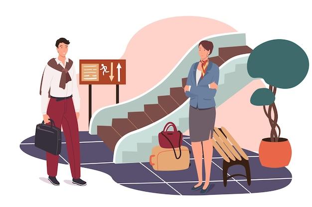 Concetto di web dell'aeroporto. i passeggeri con i loro bagagli vanno alla porta d'imbarco dell'aereo. uomo e donna che viaggiano e aspettano nella hall