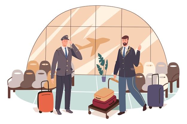 Concetto di web dell'aeroporto. il pilota si sta preparando per il volo. capitano dell'aereo con bagagli e lavoratore della sala d'attesa in piedi nel terminal