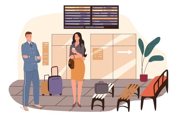 Concetto di web dell'aeroporto. il pilota si sta preparando per il volo. capitano di aereo con bagagli e passeggero donna in piedi in sala d'attesa