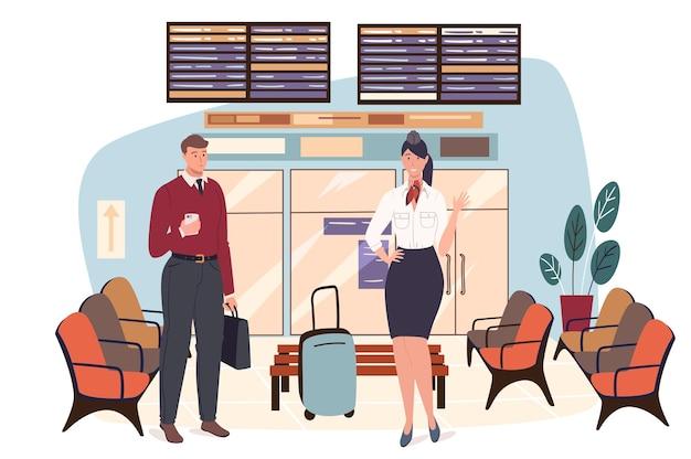 Concetto di web dell'aeroporto. hostess si sta preparando per il volo. hostess con bagagli e uomo in piedi in sala d'attesa