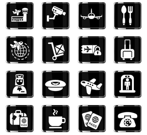 Icone web aeroportuali per la progettazione dell'interfaccia utente