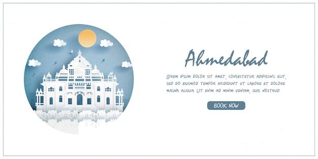 Akshardham, india. punto di riferimento di fama mondiale. banner di viaggio