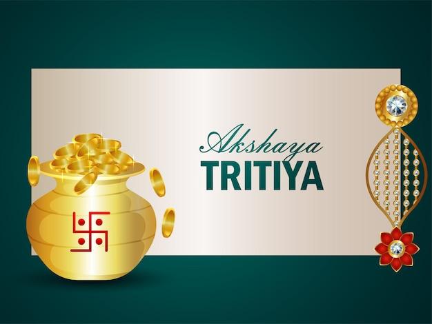 Akshaya tritiya illustrazione vettoriale con moneta d'oro con orecchini d'oro