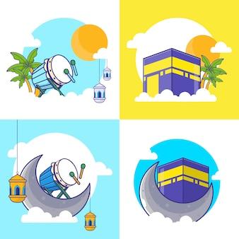 Al eid - adh, al eid-fitr e illustrazione del fumetto di capodanno islamico. set di icone islamiche. cartoon piatto
