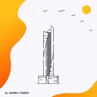Al hamra tower monument Vettore Premium