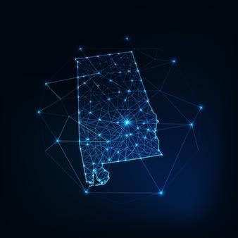 Alabama stato usa mappa sagoma incandescente contorno fatto di stelle linee punti triangoli, forme poligonali basse. comunicazione, concetto di tecnologie internet. wireframe futuristico