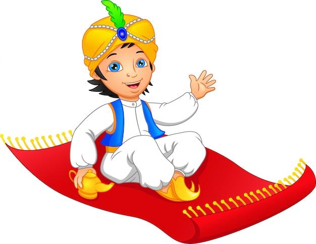 Aladdin su un tappeto volante in viaggio