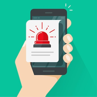 Messaggio di avviso di avviso di allarme o avviso di attenzione al rischio avviso di avviso di informazioni di sicurezza su internet sullo stile piatto del telefono cellulare