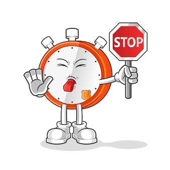 Fumetto del segnale di stop della holding della sveglia