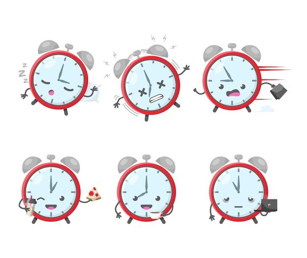 Icona della sveglia e illustrazione di gestione del tempo