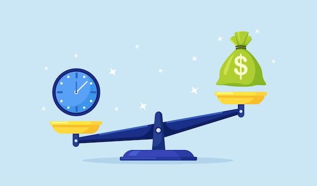 Sveglia e borsa dei soldi sulle scale dell'equilibrio. la metafora del tempo è denaro. entrate annuali, investimenti finanziari, risparmi, depositi bancari, entrate future, vantaggi in denaro