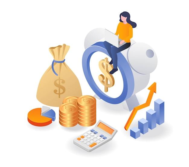 L'ora del promemoria della sveglia è denaro e un'attività di investimento