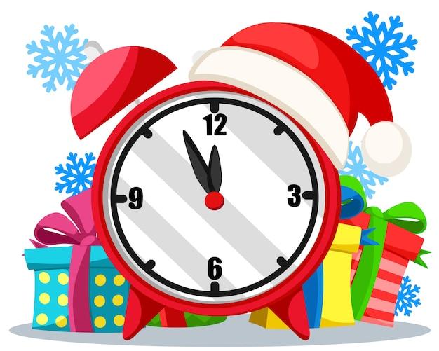 Sveglia con doni su uno sfondo bianco, il nuovo anno sta arrivando.
