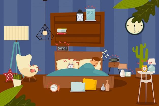 Illustrazione di sveglie, svegliarsi dal sonno. carattere uomo dorme nel letto, molte sveglie nell'anello della camera da letto all'ora stabilita.
