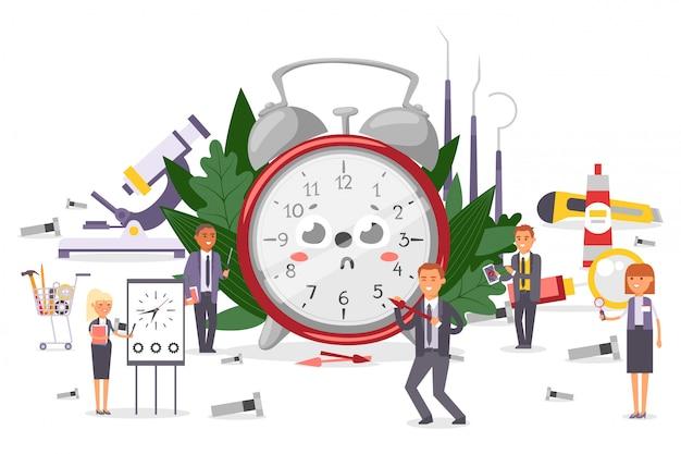 Squadra di riparazione delle sveglie, illustrazione. oggetto cartone animato tondo con quadrante, misura ore e minuti. charcter uomo, donna