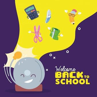 Progettazione di cartoni animati per set di icone e allarmi, lezione di educazione al ritorno a scuola