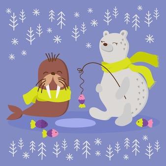 Alaska walrus winter fishing funny animal cartoon hand drawn illustration