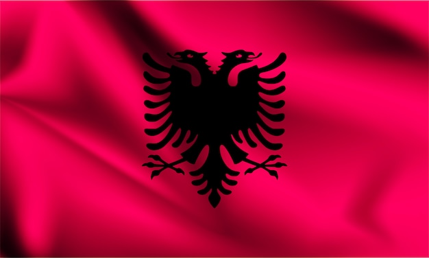 Bandiera dell'albania che soffia nel vento. parte di una serie. bandiera sventolante albania.