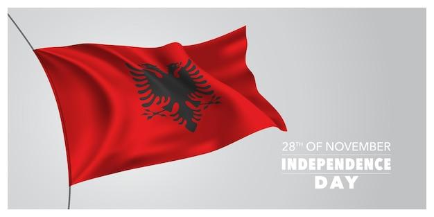 Biglietto di auguri per il giorno dell'indipendenza dell'albania, banner, illustrazione vettoriale orizzontale. festa albanese del 28 novembre elemento di design con bandiera sventolante come simbolo di indipendenza
