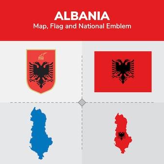 Bandiera della mappa albania e emblema nazionale