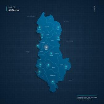 Mappa dell'albania con punti luce al neon blu