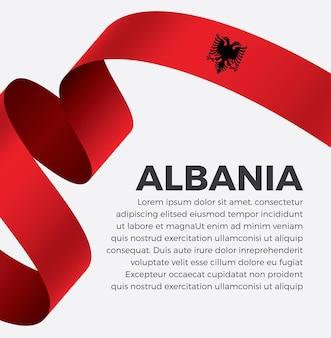 Illustrazione vettoriale di bandiera del nastro dell'albania su uno sfondo bianco vettore premium