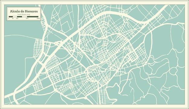 Mappa della città di alcala de henares in spagna in stile retrò. mappa di contorno. illustrazione di vettore.