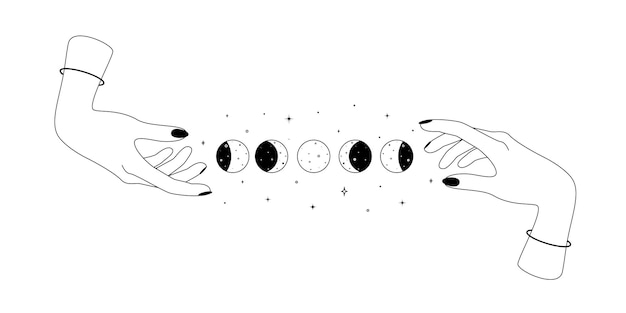 Alchimia esoterico mistico magico simbolo celeste con mani umane e ciclo lunare contorno spirituale o...