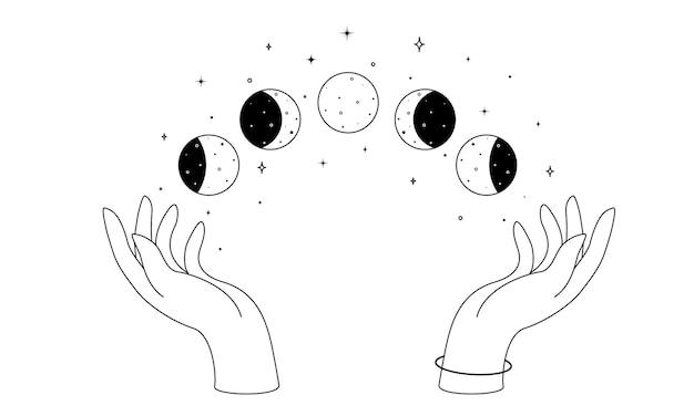 Alchimia esoterico mistico magico celeste talismano con mani di donna e fasi lunari contorno spiritua...