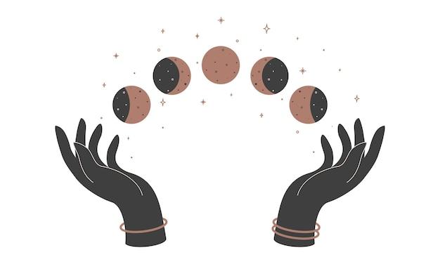Alchimia esoterico mistico magico talismano celeste con mani di donna e fasi lunari. oggetto di occultismo spirituale. illustrazione vettoriale.