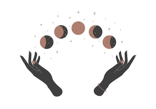 Talismano celeste magico mistico di alchimia con mani di donna e fasi lunari. illustrazione.