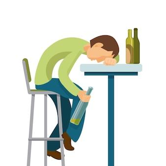 Concetto di abuso di alcol. guy ha bevuto troppo.