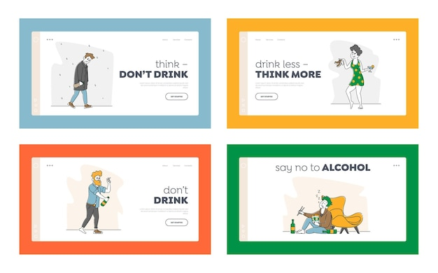 Illustrazioni di set di dipendenza da alcol