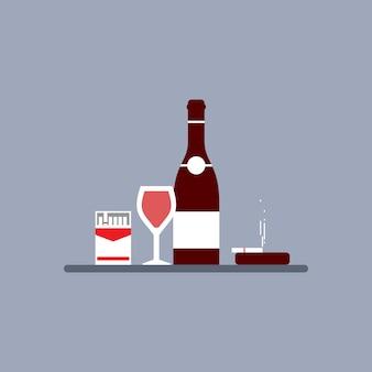 Bottiglia di alcol e sigaretta fumatori, non fumare e non bere concetto