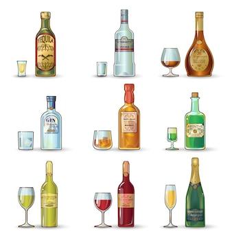 Bottiglie alcoliche set decorativo