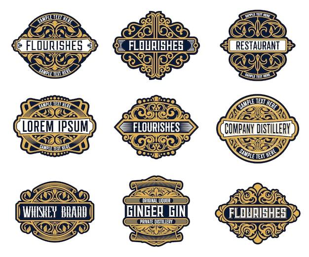 Etichette retrò di marca di bevande alcoliche, bevande o società con abbellimenti decorati e fioriti.