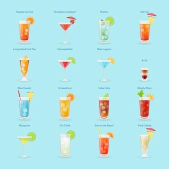 Insieme dell'icona delle bevande e dei cocktail dell'alcool, cocktail popolari, illustrazione isolata