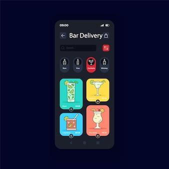 Bevande alcoliche consegna modalità notturna interfaccia smartphone template vettoriale