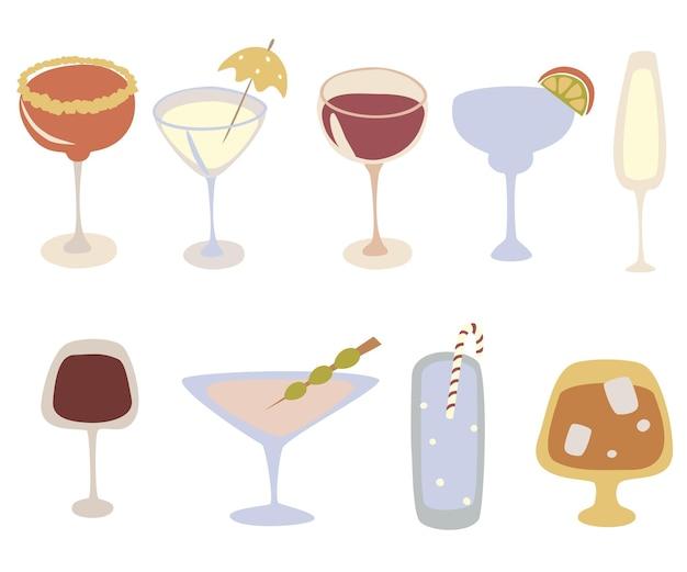 Set di icone di bevande alcoliche insieme di vettore di cocktail di cartoni animati bevande e concetto di festa