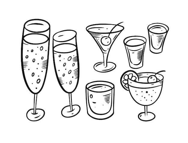 Set di oggetti di bevande alcoliche isolato su bianco