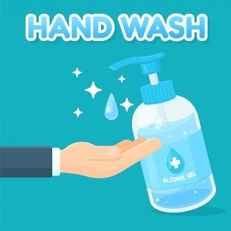 Gel alcolico per lavarsi le mani. concetto di rimozione del virus corona.