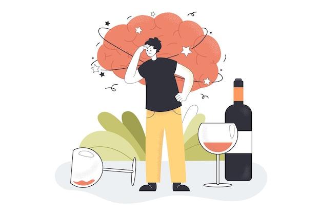 Postumi di una sbornia da alcol di un uomo ubriaco con forte emicrania, mal di testa