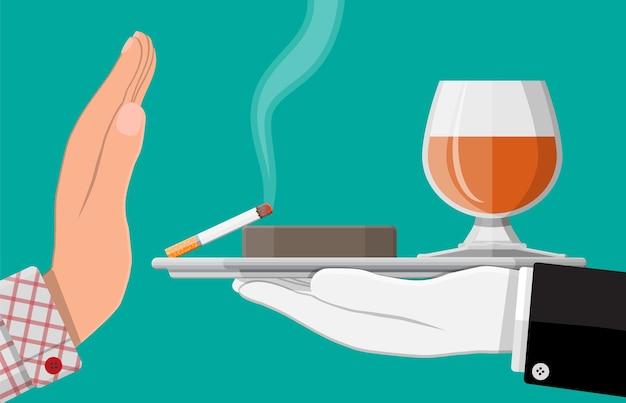 Concetto di abuso di alcol e tabacco. la mano dà un bicchiere di vino e una sigaretta all'altra. stop all'alcolismo. rifiuto del fumo. illustrazione vettoriale in stile piatto