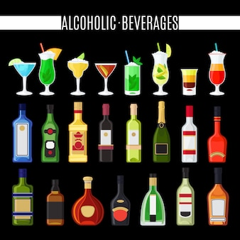 Set di icone di bevande alcoliche. icone di vettore di bottiglie e cocktail