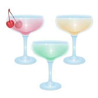 Insieme di set di bevande alcoliche cocktail isolato