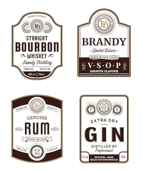 Modelli di etichette vintage di bevande alcoliche. etichette di bourbon, brandy, rum e gin.
