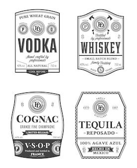 Modelli di etichette vintage di bevande alcoliche. etichette di vodka, whisky, cognac e tequila.