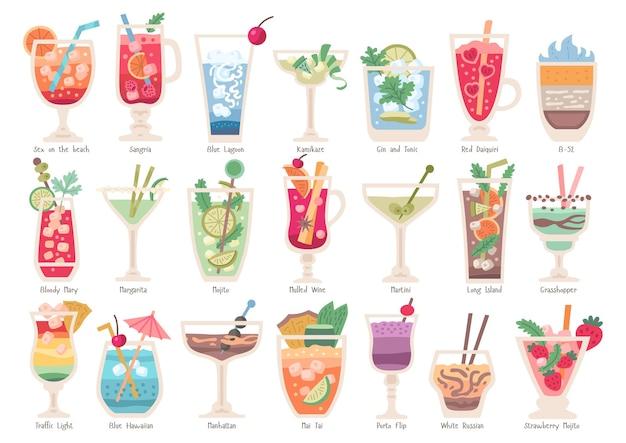 Collezione di cocktail alcolici alla frutta