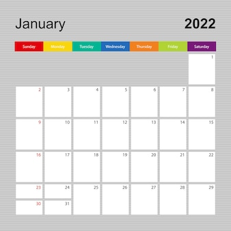 Ð pagina dell'agenda per gennaio 2022, pianificatore da parete con design colorato. la settimana inizia di domenica.